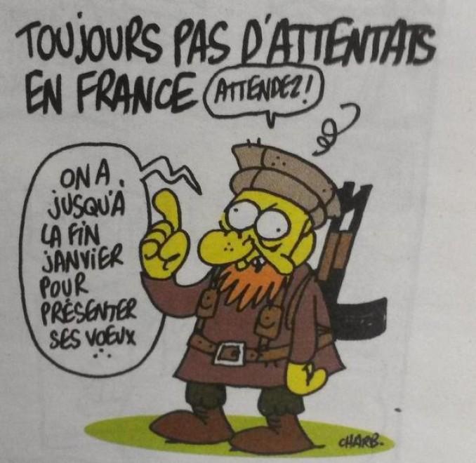 L'ultima vignetta satirica pubblicata su Charlie Hebdo prima dell'attentato terroristico