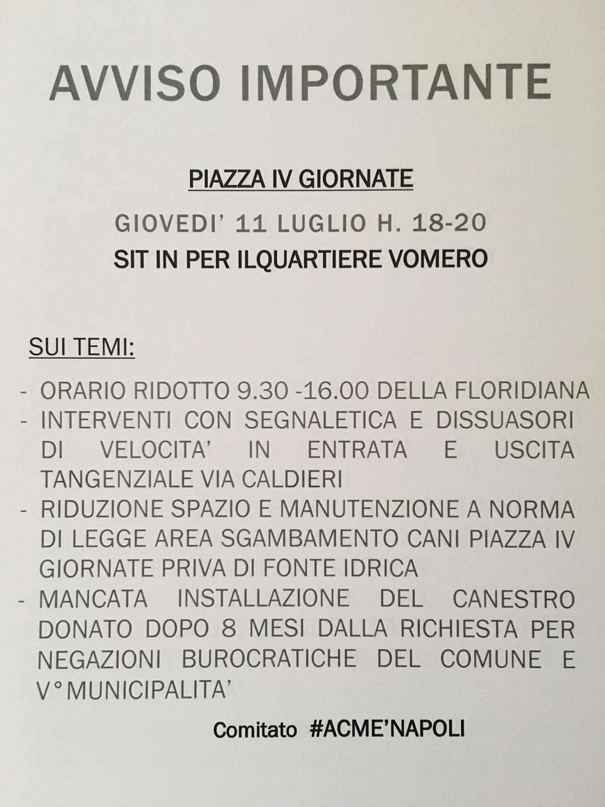 Volantino del comitato ACME'NAPOLI per il sitin in piazza Quattro Giornate