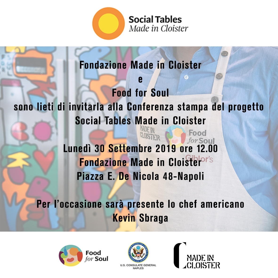 Conferenza stampa del progetto  Social Tables Made in Cloister